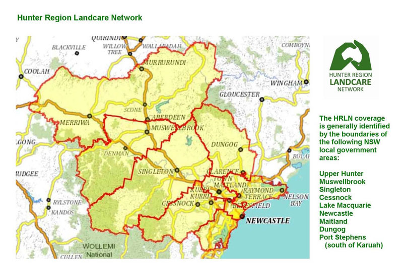 Hunter Region Landcare Network map