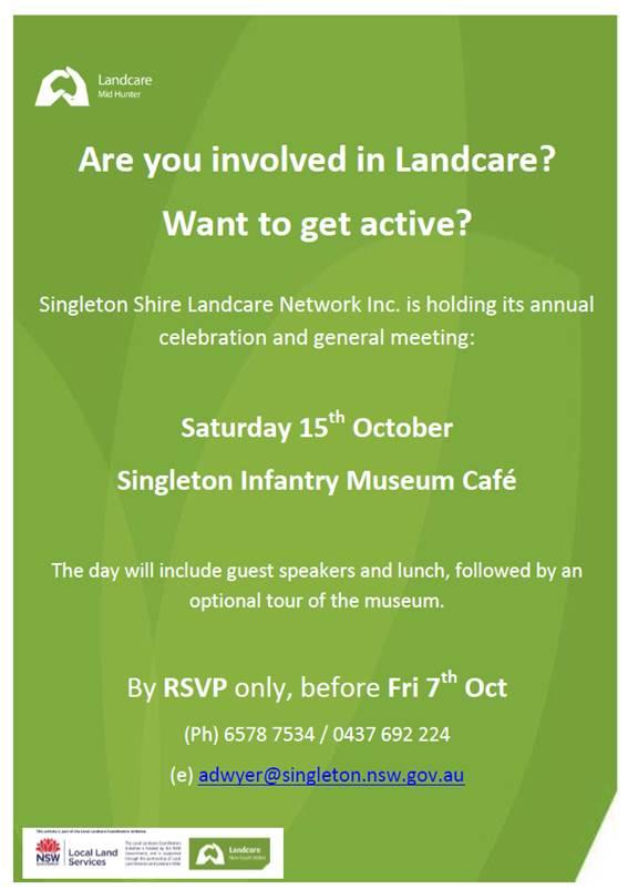 Mid Hunter Landcare General Meeting 15 October 2016 @ Singleton Infantry Museum   Singleton Military Area   New South Wales   Australia