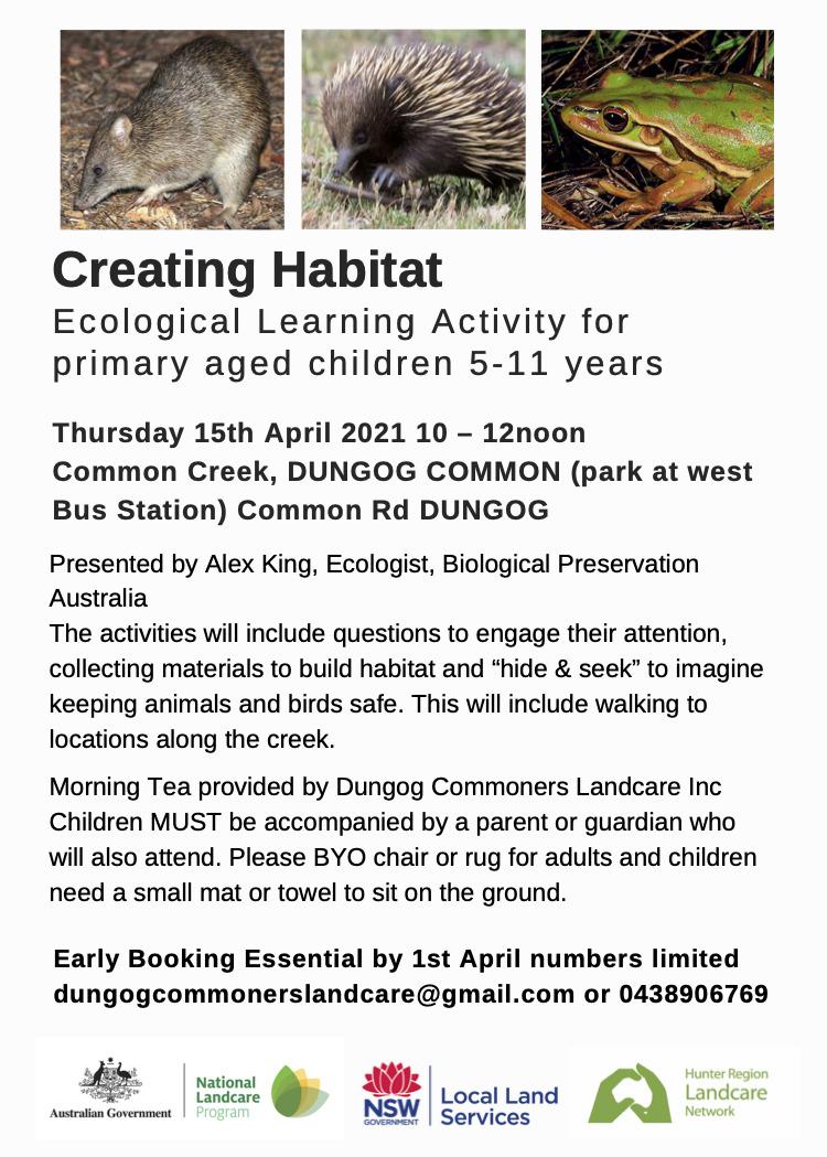 Creating habitat Dungog Common (1)