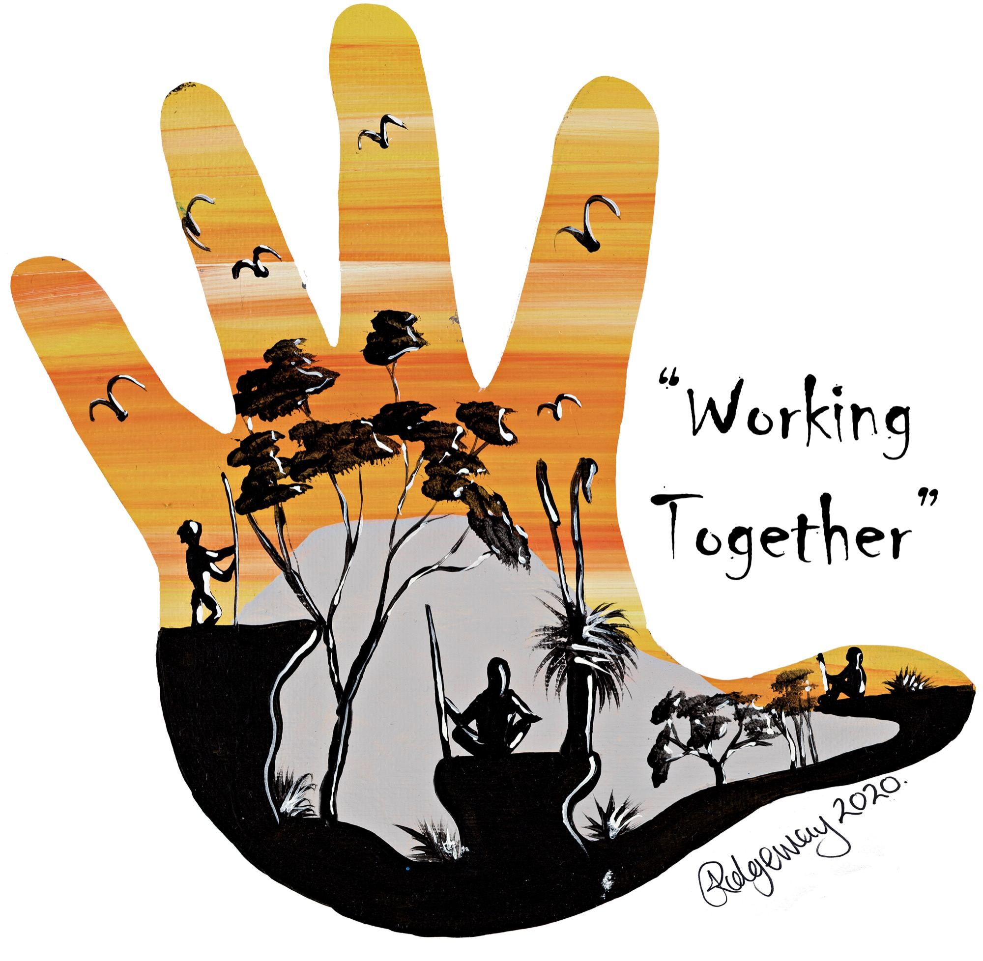 Aboriginal Community Engagement Icon Hands with wording-1